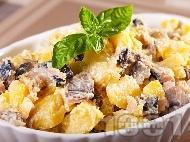 Картофена салата с пушена скумрия, майонеза и лимонов сок (без лук)